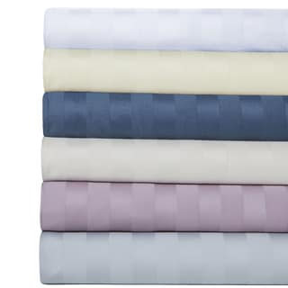 100-percent Cotton 600 Thread Count Damask Striped Sheet Set