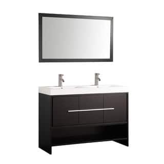 MTD Vanities Belarus 48 inch Double Sink Bathroom Vanity Set with Mirror  and Faucets Size 41 50 Inches