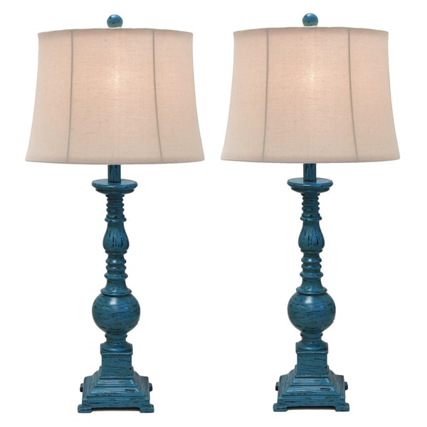 Kiara Polystone Antique-Inspired 31-Inches Pedestal Table Lamp - Set of 2