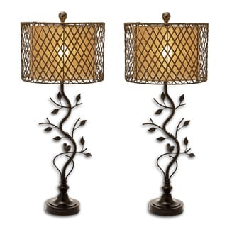 Urban Home Handcrafted Lattice Rattan And Metal Table Lamp - Set of 2