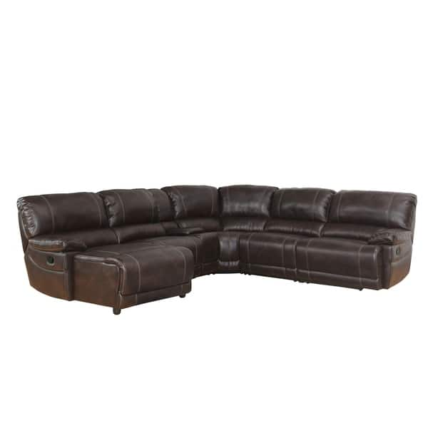 Fine Shop Abbyson Cooper 6 Piece Dark Brown Sectional Sofa On Caraccident5 Cool Chair Designs And Ideas Caraccident5Info