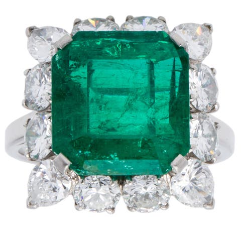 Platinum 4ct TDW Diamond Emerald Cocktail Ring by Bvlgari (G-H, VS1-VS2)