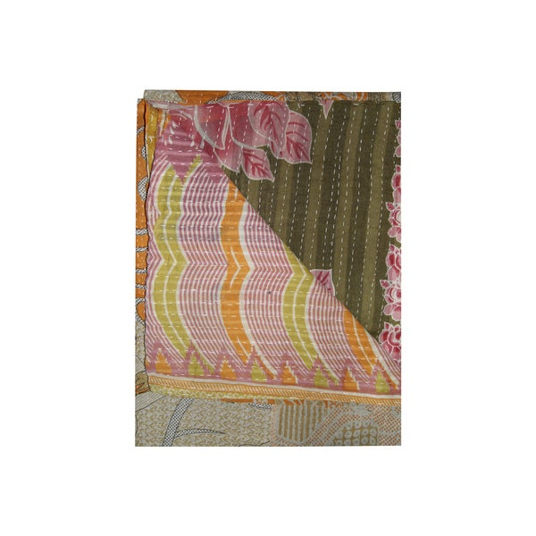 Vintage Handmade Pink and Green Floral Kantha Throw