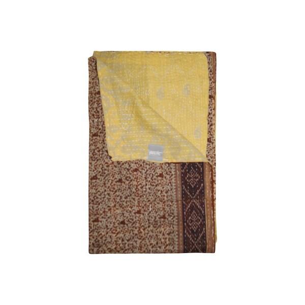 Vintage Handmade Brown Kantha Throw