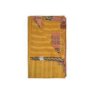 Vintage Handmade Yellow Kantha Throw