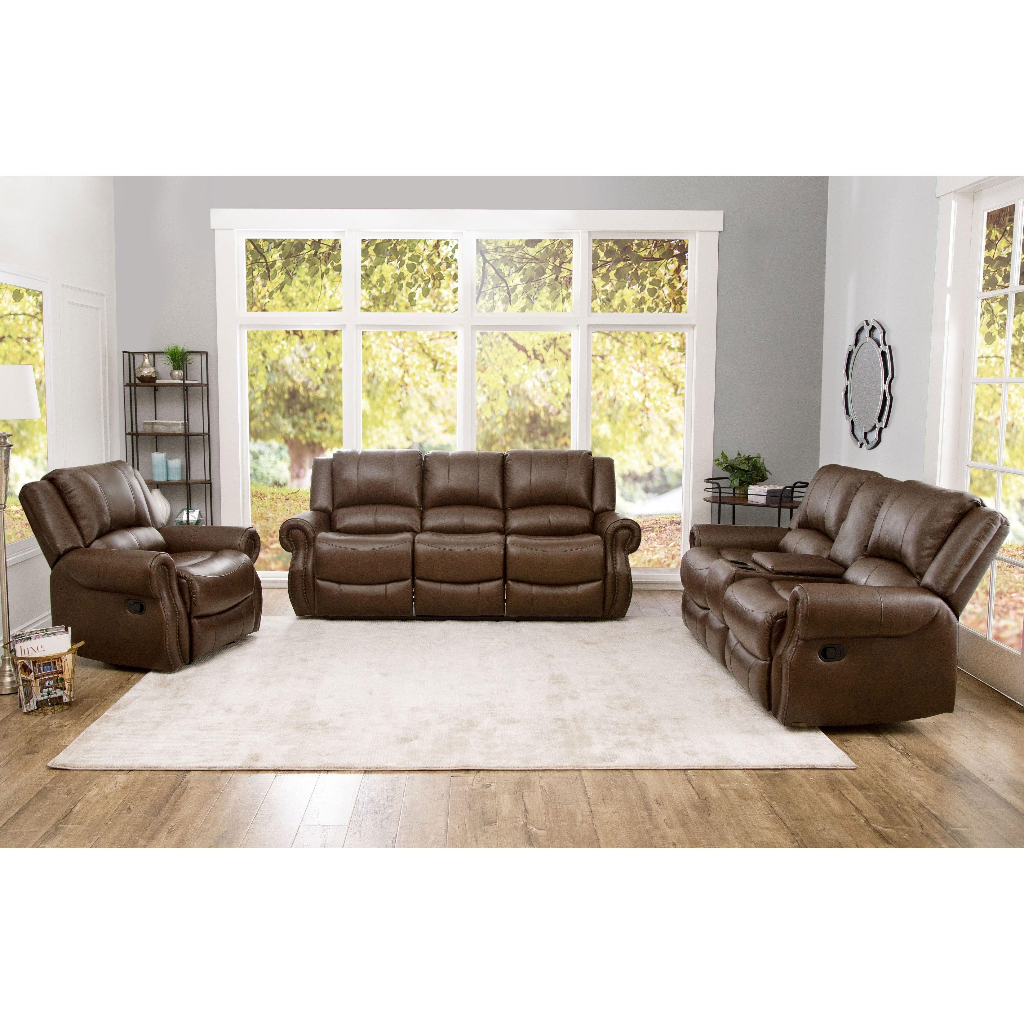 Shop Abbyson Calabasas Mesa Brown Leather 3 Piece Reclining Living ...