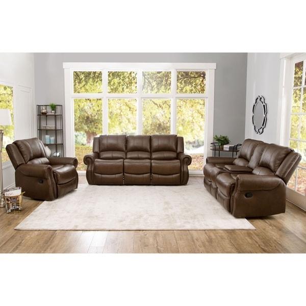 Shop Abbyson Calabasas Mesa Brown Leather 3 Piece