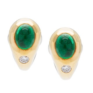 18k Yellow Gold Cabochon Emerald and 1/7ct TDW Diamond Estate Earrings (G-H, VS1-VS2)