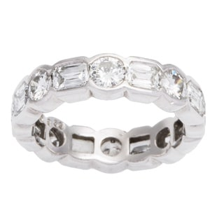 Platinum 4ct TDW Diamond Dot-Dash Eternity Estate Ring (G-H, VS1-VS2) (Size 6)