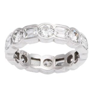 Platinum 4ct TDW Diamond Dot-Dash Eternity Estate Ring (G-H, VS1-VS2) (Size 6)