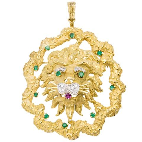 18k Yellow Gold 1/4ct TDW Giant Lion Estate Pendant/ Brooch (H-I, VS1-VS2)