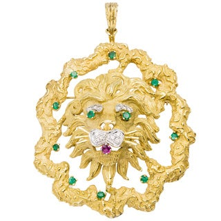 18k Yellow Gold 1/4ct TDW Diamond Giant Lion Estate Pendant/ Brooch (H-I, VS1-VS2)