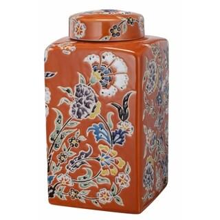 Kathy Ireland Home 6x6 Lidded Square Ceramic Jar