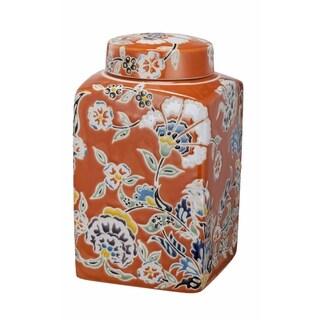 Kathy Ireland Home 5x5 Lidded Square Ceramic Jar