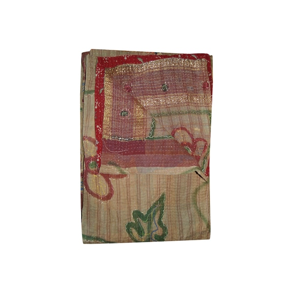 Vintage Handmade Tan and Red Floral Kantha Throw