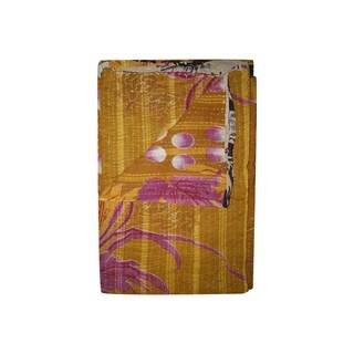 Vintage Handmade Gold and Pink Kantha Throw