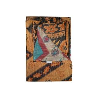 Vintage Handmade Orange and Black Kantha Throw