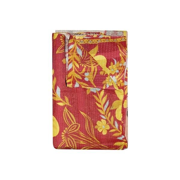 Vintage Handmade Pink and Yellow Kantha Throw