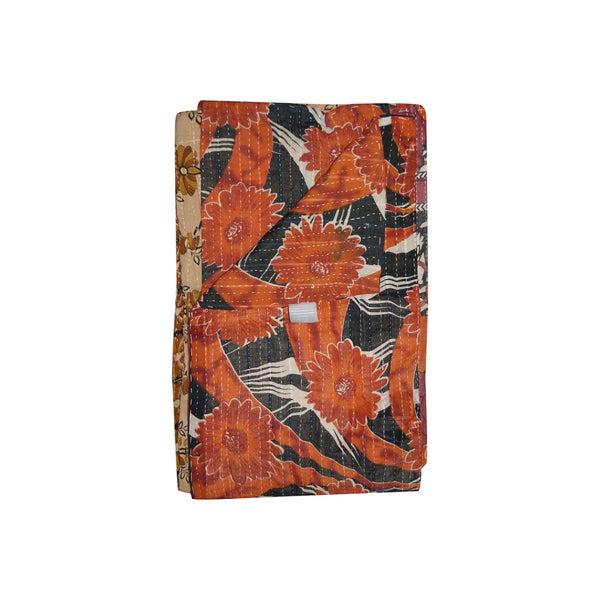 Vintage Handmade Black and Orange Floral Kantha Throw