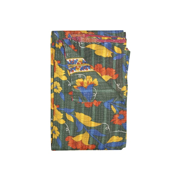 Vintage Handmade Multicolored Kantha Throw