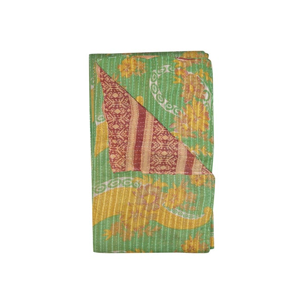 Vintage Handmade Green and Yellow Kantha Throw