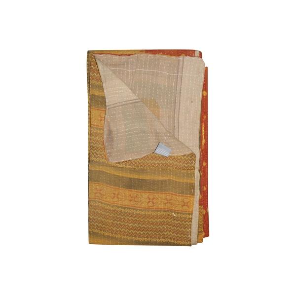 Vintage Handmade Orange Chevron Kantha Throw