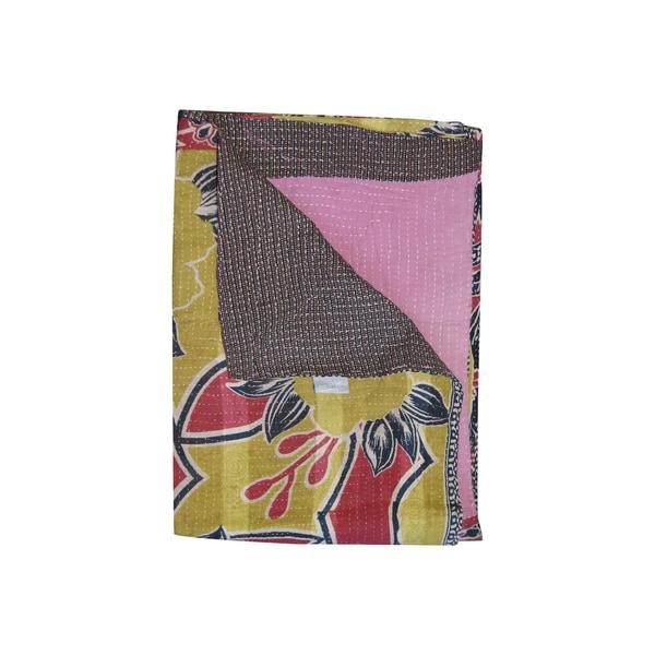 Vintage Handmade Patterned Multicolor Kantha Throw
