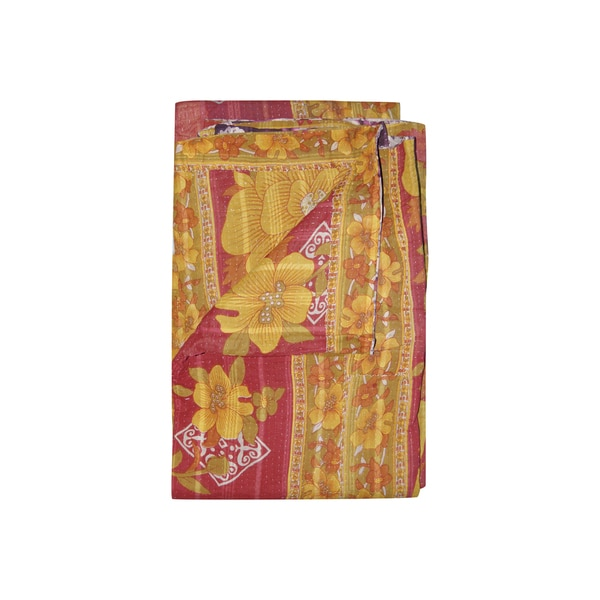Vintage Handmade Bright Pink and Yellow Kantha Throw
