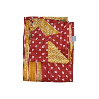 Vintage Handmade Red and Yellow Diamond Kantha Throw