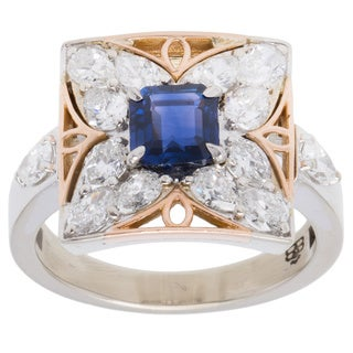 14k Two-tone Gold 2 1/2ct TDW Diamond and Sapphire Butterfly Estate Ring (F-G, VS1-VS2) (Size 7.25)