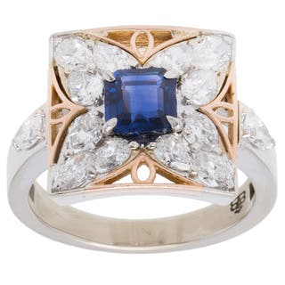 14k Two-tone Gold 2 1/2ct TDW Diamond and Sapphire Butterfly Estate Ring (F-G, VS1-VS2) (Size 7.25)|https://ak1.ostkcdn.com/images/products/10556086/P17634874.jpg?impolicy=medium