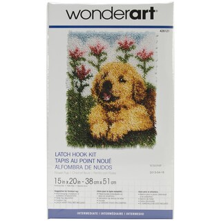 Wonderart Latch Hook Kit 15inX20inFlower Pup