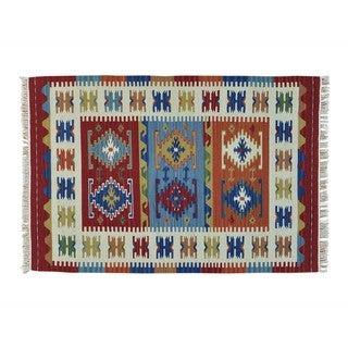 Multicolored Reversible Anatolian Kilim Hand-woven Rug (4'1 x 6'1)
