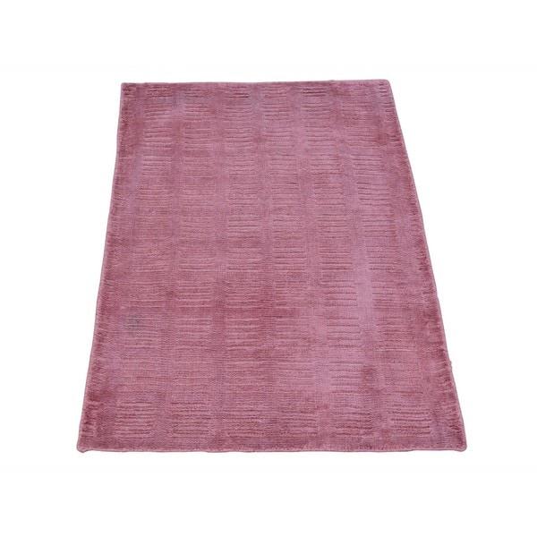 Rayon from Bamboo Silk Hand-loomed Tone on Tone Modern Oriental Rug - 2' x 3'
