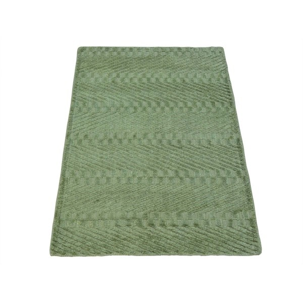Light Green Tone on Tone Viscose Rayon from Bamboo Modern Handmade Rug - 2' x 3'