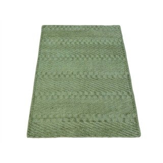 Light Green Tone on Tone Viscose Rayon from Bamboo Modern Handmade Rug (2' x 3')