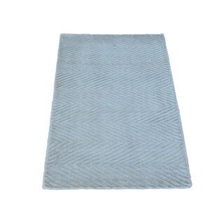 Tone on Tone Rayon from Bamboo Silk Modern Hand-loomed Oriental Rug (2' x 3')