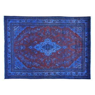 Hand-Knotted Semi Antique Overdyed Persian Tabriz Rug (8'7 x 11'8)