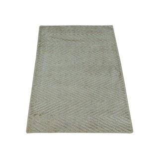 Tone on Tone Hand-loomed Beige Modern Rayon from Bamboo Silk Oriental Rug (2' x 3')