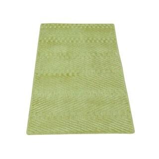 Hand-loomed Tone on Tone Modern Rayon from Bamboo Silk Oriental Rug (1'10 x 3')