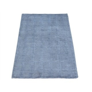 High and Low Pile Modern Viscose Rayon from Bamboo Rug Hand-loomed (1'10 x 3')