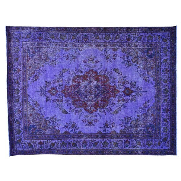 Purple Overdyed Persian Tabriz Handmade Oriental Rug (9'10 x 12'10)