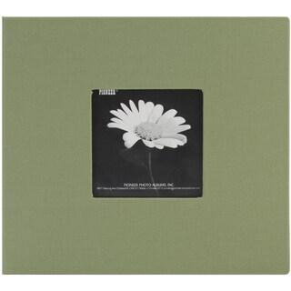Book Cloth Cover Post Bound Album 8inX8inHerbal Green