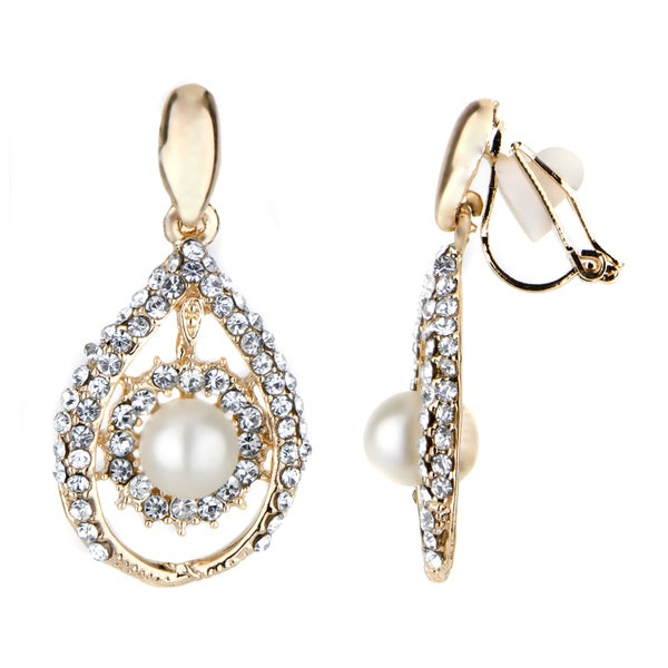 overstock earrings shop pearl tear drop clip on earrings free shipping on 453
