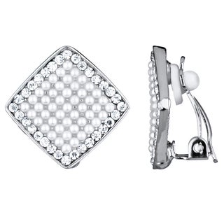 Women's Pearl and Rhinestone Clip-On Earrings