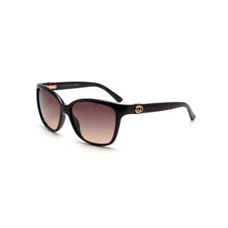 Gucci GG 3645/S Brown Gradient Lenses Shiny Black Frame Sunglasses