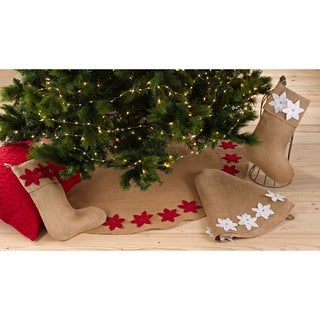 Poinsettia Design Stocking or Tree Skirt