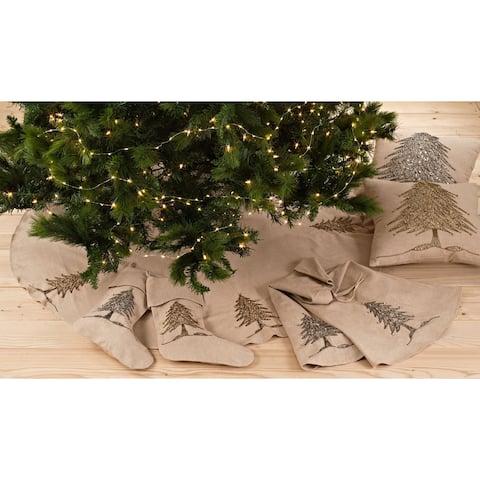 Cotton Tree Skirt or Stocking with Beaded Christmas Tree Design