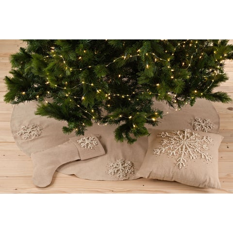 Hand Knotted Snowflake Design Stocking or Tree Skirt