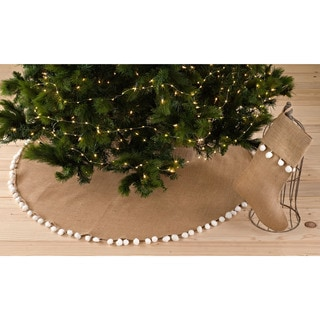 Pompom Design Jute Stocking or Tree Skirt